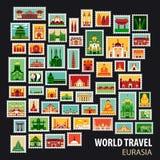 World Travel Iconos fijados Foto de archivo libre de regalías