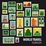 World Travel Iconos fijados Fotos de archivo libres de regalías