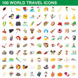 100 world travel icons set, cartoon style. 100 world travel icons set in cartoon style for any design vector illustration Stock Photography