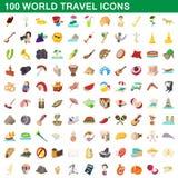 100 world travel icons set, cartoon style. 100 world travel icons set in cartoon style for any design illustration royalty free illustration