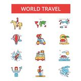 World travel illustration, thin line icons, linear flat signs  Stock Photos