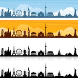 World Travel. World landmark silhouettes and banners. Easy to change colour of landmarks Stock Image