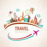 World travel, landmarks silhouettes Royalty Free Stock Photos