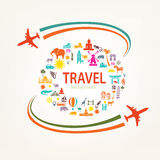 World travel, landmarks silhouettes icons Stock Image