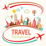 World travel, landmarks silhouettes icons set Royalty Free Stock Photo