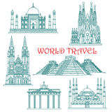 World travel landmarks thin line icons Stock Image