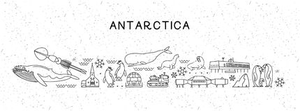 World Travel Line Icons Antarctica Map. Travel Poster with animals and sightseeing attractions. Inspirational Vector royalty free illustration