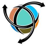 World travel logo. Isolated line art world travel logo design Royalty Free Stock Image