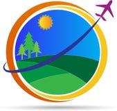 World travel logo. A vector drawing represents world travel logo design royalty free illustration