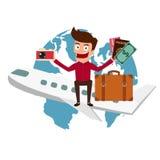 World Travel. Man travel around the world by airplane. Cartoon Vector Illustration royalty free illustration