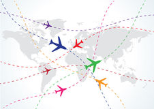 World travel map with airplanes stock illustration