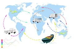 A World Travel Map of Transportation Vehicles. Stock Image