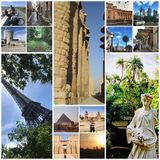 World travel memories in collage stock photography