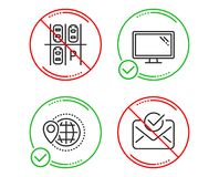 World travel, Parking place and Monitor icons set. Approved mail sign. Vector. Do or Stop. World travel, Parking place and Monitor icons simple set. Approved vector illustration