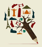 World travel pencil stock illustration