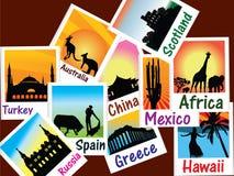 World travel photos vector illustration