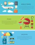 World Travel Picnic Vacation Horizontal Web Banner Stock Photo