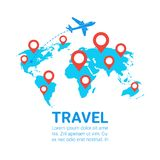 World Travel By Plane Template Banner Airplane Fly Over Earth Map With Red Navigation Pointers. Flat Vector Illustration Royalty Free Stock Image