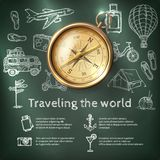 World Travel Poster With Compass stock illustration