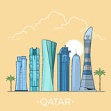 World travel in Qatar Linear Flat vector design te Stock Photo