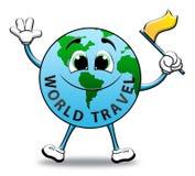 World Travel que indica el ejemplo del viajero 3d del planeta libre illustration