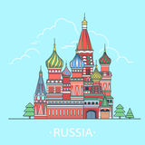 World travel in Russian Federation. Linear Flat ve. Russian Federation design template. Linear Flat famous historic sight; cartoon style web site vector Royalty Free Stock Images