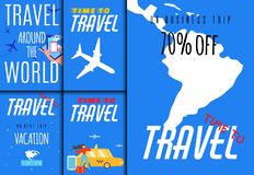 World Travel Sales Set for Tour Agency Application. World Travel Sales Set. Tour Agency Application. Mobile Cover, Invitation Flyer, Printable Card Kit with vector illustration