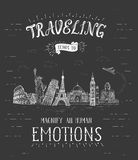 World travel and sights. Tourism banner with hand-lettering quote. Royalty Free Stock Photography