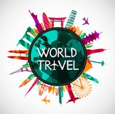 World Travel, siluetas del horizonte de las señales Fotos de archivo