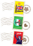 World travel stamp set Royalty Free Stock Image
