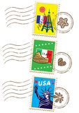 World travel stamp set. With different country Royalty Free Stock Photography