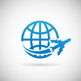 World Travel Symbol Airplane. World Travel Symbol Airplane and globe Icon Design Template Vector Illustration Royalty Free Stock Photos