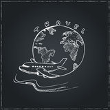 World Travel Symbol Airplane and Globe . Travel drawings. Sketches. Royalty Free Stock Photo