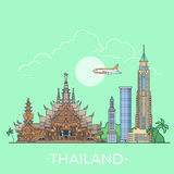 World travel in Thailand Linear Flat vector design Stock Photo