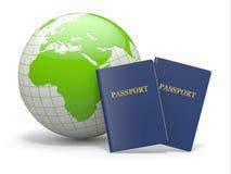 World Travel. Tierra y pasaporte. 3d Imágenes de archivo libres de regalías