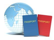 World Travel. Tierra y pasaporte en el fondo blanco Fotografía de archivo libre de regalías