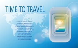 World travel and tourism concept. Banner of a plane portholes in tourism theme. Travel agency advertisement airplane. Poster design. Vector Illustration EPS 10 Stock Images