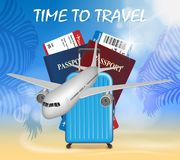 World travel and tourism concept. Banner in tourism theme with airplane on palm beach summer background. Travel agency. Advertisement airplane poster design Royalty Free Stock Images