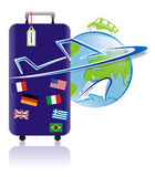 World travel and tourism logo. An illustration of a world travel and tourism logo with a blue suitcase with stickers of flags of different countries and a label Royalty Free Stock Photography