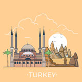 World travel in Turkey Linear Flat vector design t Royalty Free Stock Photos