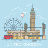 World travel in United Kingdom. Linear Flat vector. United Kingdom country design template. Linear Flat famous historic sight; cartoon style web site vector Stock Photo