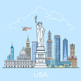 World travel in USA States Linear Flat vector desi. USA United States country design template. Linear Flat famous historic sight; cartoon style web site vector Stock Photos