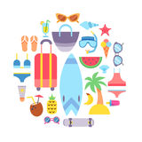 World Travel. Vacations. Summer holiday. Tourism and vacation icons theme. Stock Photos
