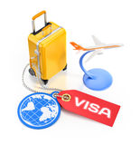 World Travel Visa. Illustration on the subject of Travel and Tourism. 3D rendering graphic composition on white glossy background Royalty Free Stock Image