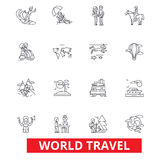 World travel, winter tourism, skiing, diving, flight, summer beach vacation line icons. Editable strokes. Flat design. Vector illustration symbol concept Royalty Free Stock Photography
