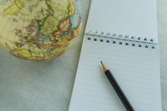 World travel wish list or goal and target concept as pencil on w Stock Photo