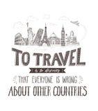 World Travel y vistas Bandera del turismo con cita de las mano-letras Fotografía de archivo libre de regalías