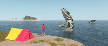 World traveler and sea monsters. Computer generated 3D illustration with world traveler and sea monsters Stock Image