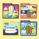 World traveling concept icons set in flat design. Flat design of world traveling icons set topic Royalty Free Stock Photography