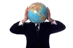 World travler. Businessman with the world on his mind Royalty Free Stock Photo